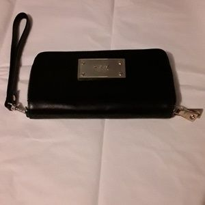 DKNY black leather wallet with silver hardware